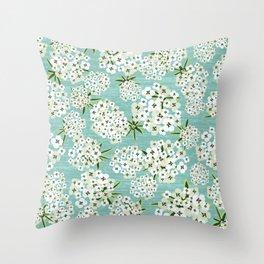 Alyssum Flowers - Teal Throw Pillow