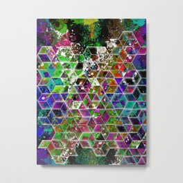 cascading interlocked box abstract  Metal Print