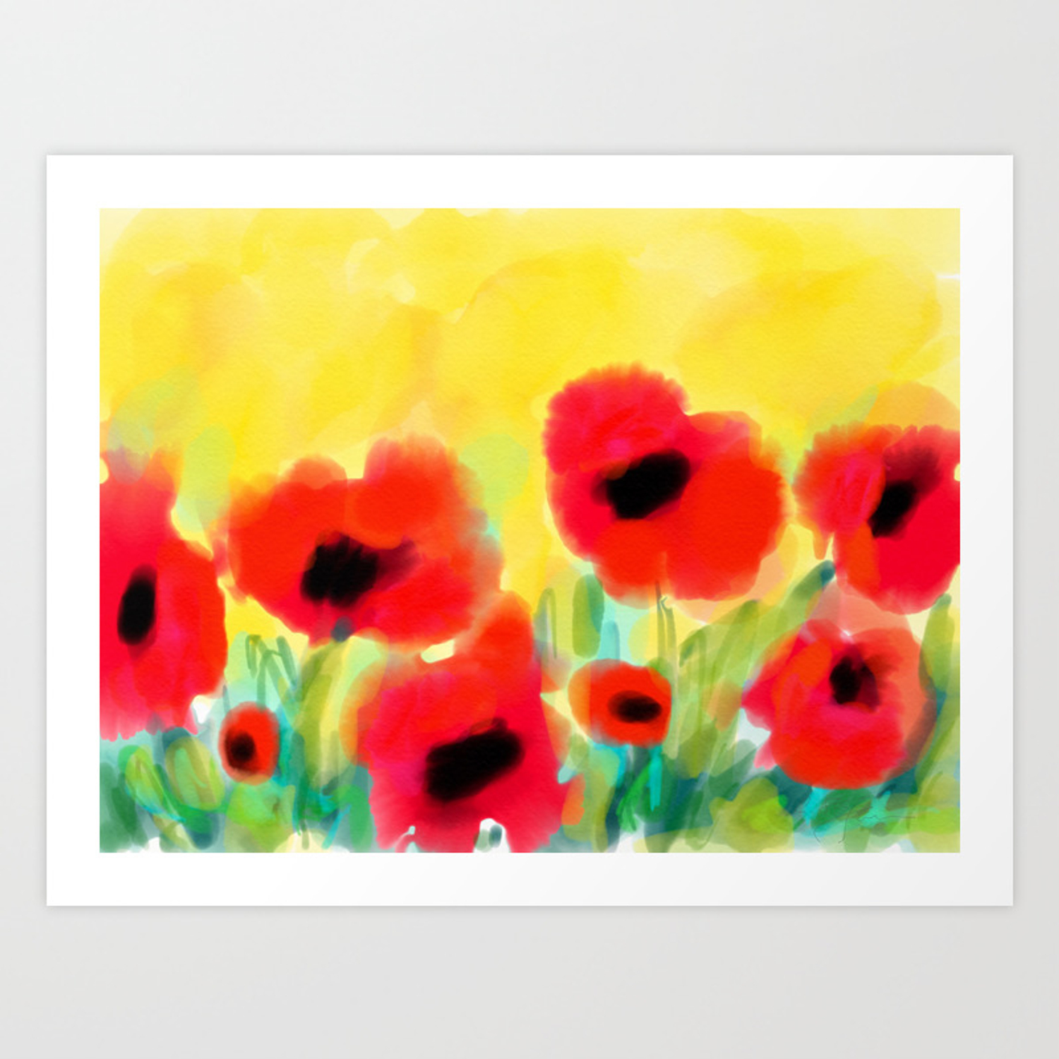 Red Poppies Original Design By Artstudio29 Red Flowers On Yellow Background Art Print By Artstudio29 Society6