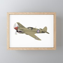 WW2 P-40 Warhawk Airplane Framed Mini Art Print