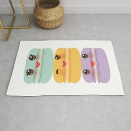 Kawaii macaroon funny orange blue lilac cookie with pink cheeks with pink cheeks and big eyes Rug