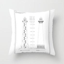 Vintage Cape Hatteras Lighthouse Blueprint Throw Pillow