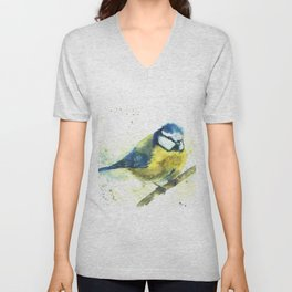 Watercolor titmouse bird Unisex V-Neck