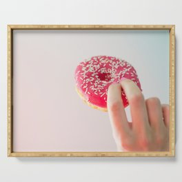Pink Donut in Hand Serving Tray