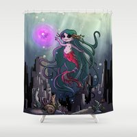the little mermaid Shower Curtains featuring Little mermaid by Tesheala
