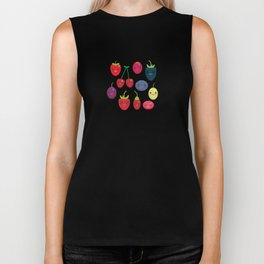Kawaii Cherry Strawberry Raspberry Blackberry Blueberry Cranberry Cowberry Goji Grape Biker Tank