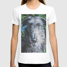 Scottish Deerhound dog art portrait from an original painting by L.A.Shepard T-shirt