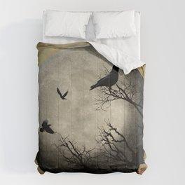Rustic Black Bird Raven Crow Tree Dark Side of the Moon Gothic Art A169 Comforters