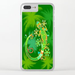 Gecko Lizard Colorful Tattoo Style Clear iPhone Case