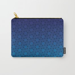 Floral Pattern of Abstract Pinwheels in Blue Gradient Ombré Carry-All Pouch