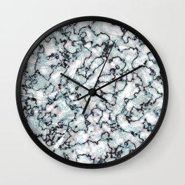 White Black & Mint Metallic Marble Texture Wall Clock