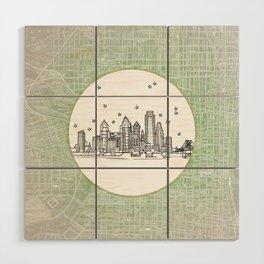 Philadelphia, Pennsylvania City Skyline Illustration Drawing Wood Wall Art