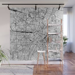Munich White Map Wall Mural