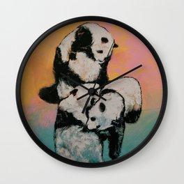 Panda Street Fight Wall Clock
