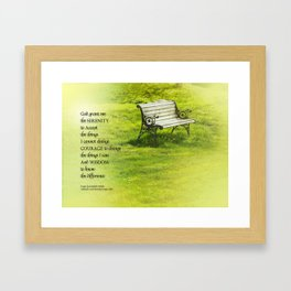 Serenity Prayer Bench Framed Art Print
