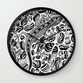 Gecko and pebbles Wall Clock