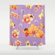 Orchids & Ladybirds Shower Curtain