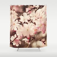 cherry blossom Shower Curtains featuring Cherry Blossom by Erin Johnson