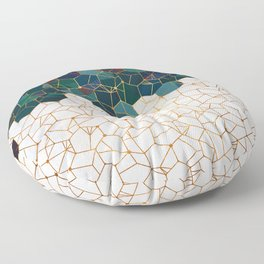 Teal and Cream Organic Hexagons Floor Pillow