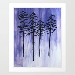 Lavender Pine Trees Art Print