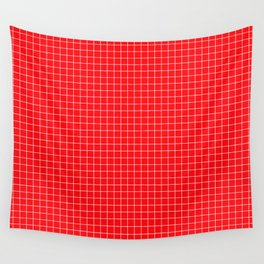 Red Grid White Line Wall Tapestry
