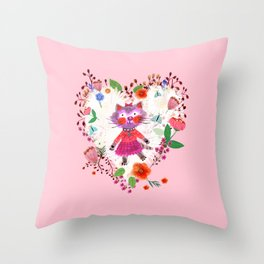 Mademoiselle the Pink Cat  Throw Pillow