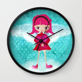 Pink angel - L'ange rose Wall Clock
