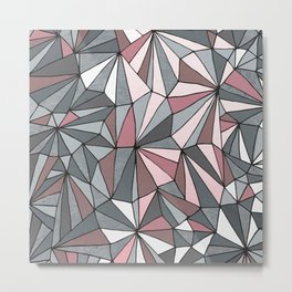 Urban Geometric Pattern on Concrete - Dark grey and pink Metal Print