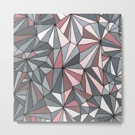 Urban Geometric Pattern on Concrete - Dark grey and pink Metal Print