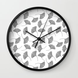 Ginkgo Leaves White & Black Design Pattern Wall Clock