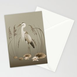 Heron and Lotus Flowers Stationery Cards