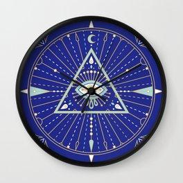 Evil Eye Mandala – Navy Wall Clock