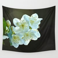 jasmine Wall Tapestries featuring Jasmine flower by Svetlana Korneliuk