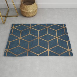 Dark Blue and Gold - Geometric Textured Cube Design Rug