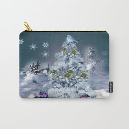 Snowy Blue Christmas Scene Carry-All Pouch