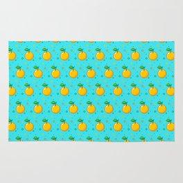 Pixel Oranges - Blue Rug