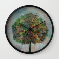autumn Wall Clocks featuring Autumn by Klara Acel
