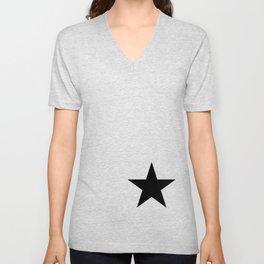 Black star t shirts cotton jersey clothing Unisex V-Neck