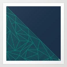 B Rays Geo Pine Blue Art Print
