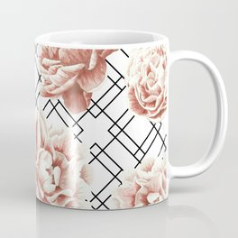 Rose Garden Vintage Rose Pink Cream White Mod Diamond Lattice Coffee Mug