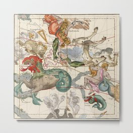 Vintage Constellation Map - Star Atlas Metal Print