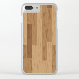 Multi Brown Wood Floor Pattern Clear iPhone Case