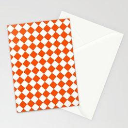 Diamonds - White and Dark Orange Stationery Cards