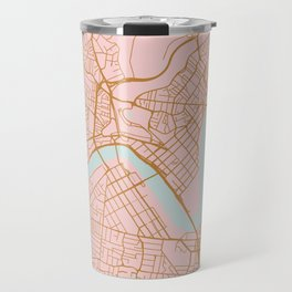Pink and gold Brisbane map Travel Mug