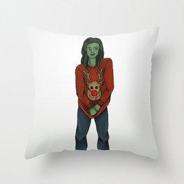 Xmassy She-Hulk Throw Pillow