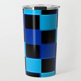 Blue & Black 3D Checkerboard Travel Mug