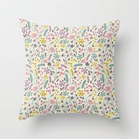 candy Throw Pillows featuring Retro Blooms (Candy) by Anna Deegan