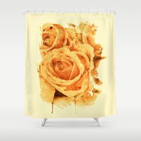 peach Shower Curtains featuring peach rose by clemm