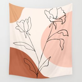 Poppies line drawing Wall Tapestry