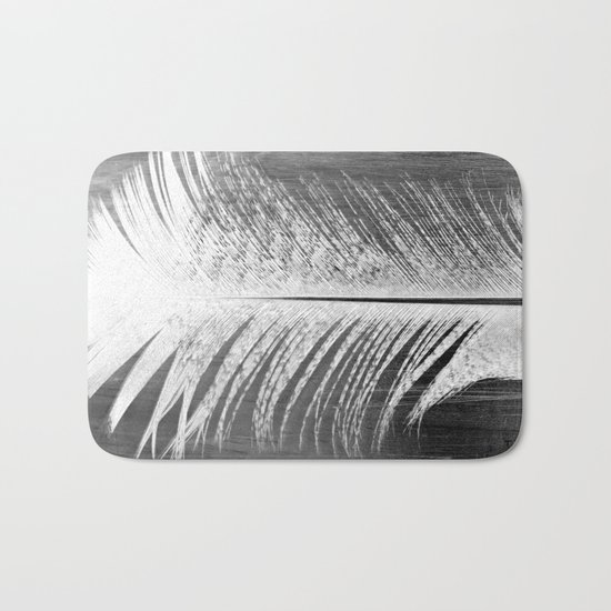 White and Grey Feather Bath Mat